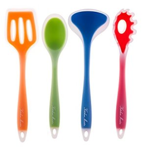 4-piece-Kitchen-Cooking-Utensil-Gadget-Set-Made-of-One-Piece-Silicone-Includes-Ladle-Slotted-Turner-Spoon-Pasta-Fork-0-1