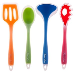 4-piece-Kitchen-Cooking-Utensil-Gadget-Set-Made-of-One-Piece-Silicone-Includes-Ladle-Slotted-Turner-Spoon-Pasta-Fork-0