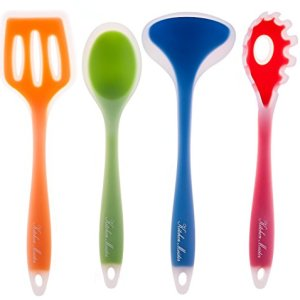 4-piece-Kitchen-Cooking-Utensil-Gadget-Set-Made-of-One-Piece-Silicone-Includes-Ladle-Slotted-Turner-Spoon-Pasta-Fork-0-4