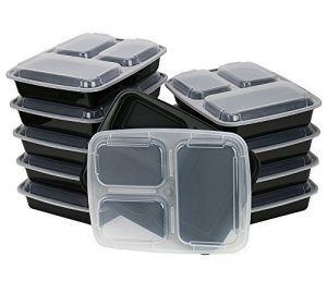 ChefLand-3-Compartment-Microwave-Safe-Food-Container-with-LidDivided-PlateBento-BoxLunch-Tray-with-Cover-Black-10-Pack-0