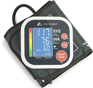 Health-Gurus-Professional-Upper-Arm-Blood-Pressure-Monitor-with-Easy-to-Read-Backlit-LCD-One-Size-Fits-All-Cuff-and-Nylon-Storage-Case-by-Greater-Goods-0