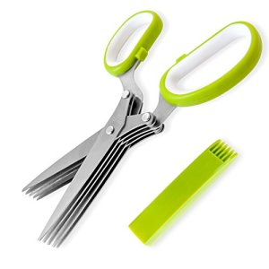 Jenaluca-Herb-Scissors-Stainless-Steel-Multipurpose-Kitchen-Shear-with-5-Blades-and-Cover-with-Cleaning-Comb-0